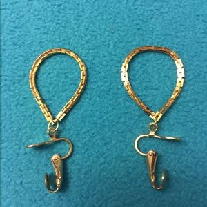 Preloved golden tone clip on earrings